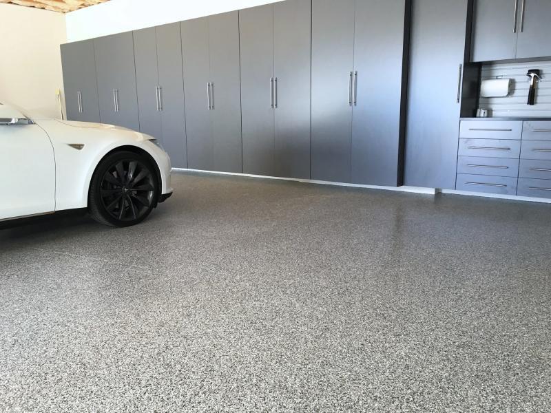 car inside a garage with epoxy floor